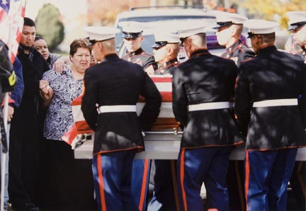Martha Lopez, Mother of Marine Private Edwardo Lopez, is Supported by Family Members and a Marine as her Son's Casket is Carried Into the Church. Lopez, of Aurora was Killed by Hostile Fire, October 19, 2006 in Al Anbar, a Province in Western Iraq. Funeral Service was Held at San Pablo Evangelical Lutheran Church, in Aurora, October 2006