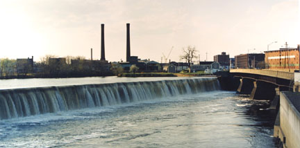 Pawtucket Falls, Merrimack River, Lowell, Mass (April 1991), from the