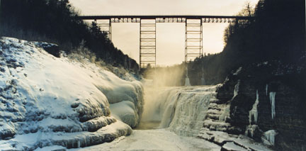 Upper Portageville Falls, Letchworth Falls, Letchworth Park, N.Y., March 1989, from the