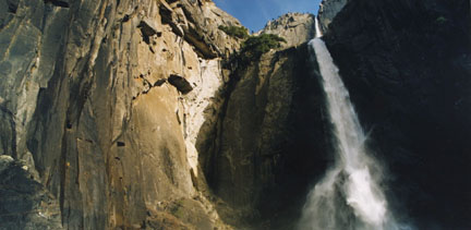 Upper and LowerYosemite Falls, Yosemite National Park, CA, March 1992, from the