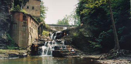 Van Etta Falls, Six-Mike Creek, Ithaca, NY, July 1995, from the