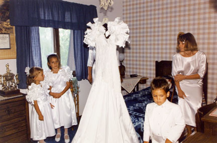 Hanging Icon: Wedding Dress and Attendants of Maria Hondros, from Changing Chicago
