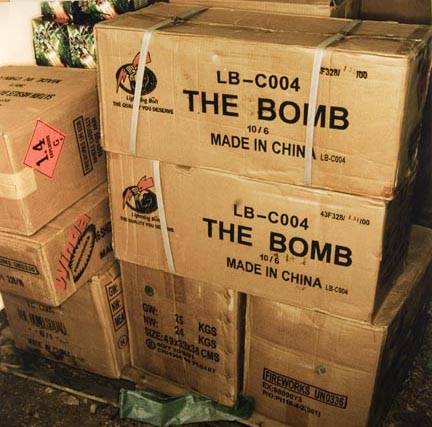 Boxes of Stored Fireworks Ready for Display, from the
