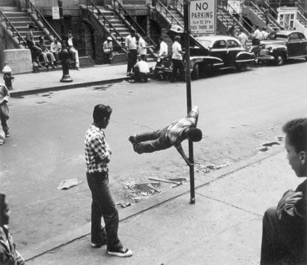 Boys Chinning on Pole, 105th St. NYC