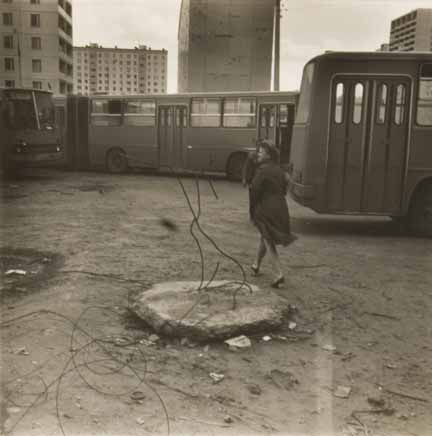 Moscow (woman in bus yard)