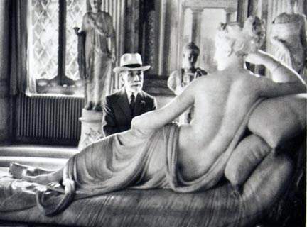 Bernhard Berenson, American art collector of Lithuanian origin, looking at Pauline Borghese by Antonio Canova, Borghese Gallery, Rome, Italy, from the