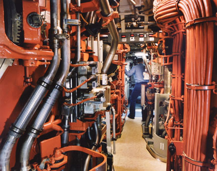Untitled (Trident submarine missile tubes, second level, USS Alaska)