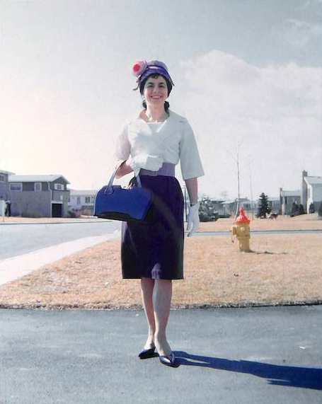 Ever stylish, Florence waits in front of our new house in Deerfield, for a lady friend to transport her to a Human Rights lunch. She and I handled the PR for Deerfield's  Citizens for Human Rights in the 1959 fight to permit African-Americans to buy houses in Deerfield.