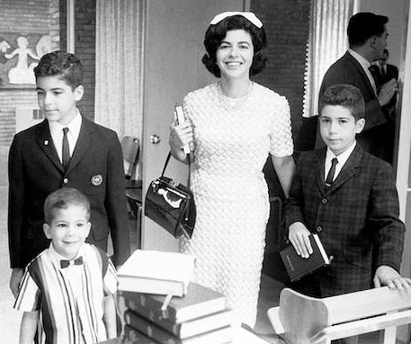 Florence proudly leads sons Harmon and Steve into the synagogue for Richard's Bar Mitzvah in 1966. Richard nervously holds his prayer book. Florence was 44.