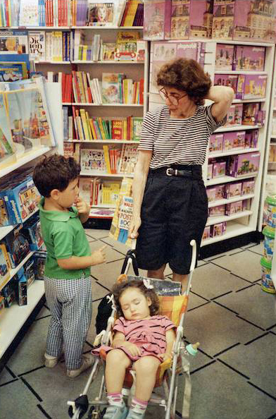 Florence getting away from her own rare book store problems takes her grandkids Carter and the sleeping Celeste shopping in Northbrook Court. Carter, today, is a California environmentalist and Celeste is an assistant producer for the Rachel Maddow TV show in New York City.