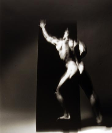 Four Studies of Figure in Movement Ascending and Descending a Black Velvet Monolith I, 19 December 1989, Chicago Studio