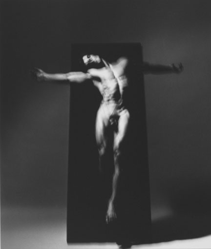 Four Studies of Figure in Movement Ascending and Descending a Black Velvet Monolith III, 19 December 1989, Chicago Studio