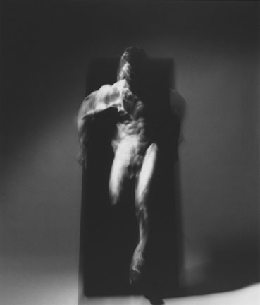 Four Studies of Figure in Movement Ascending and Descending a Black Velvet Monolith IV, 19 December 1989, Chicago Studio