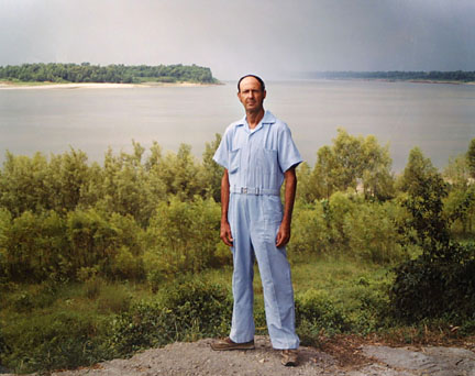 A Man on the banks of the Mississippi, Baton Rouge, Louisiana