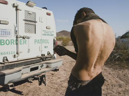 Young Man with Backpack Scars, Arizona, from the