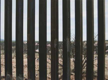 American Flags and Bollard Fence (looking into Mexico), from the