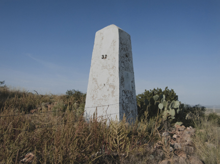 Border Monument No. 32, N 31° 47.025' W 107° 57.317', from the