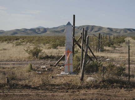 Border Monument No. 34, N 31° 47.039' W 108° 00.676', from the