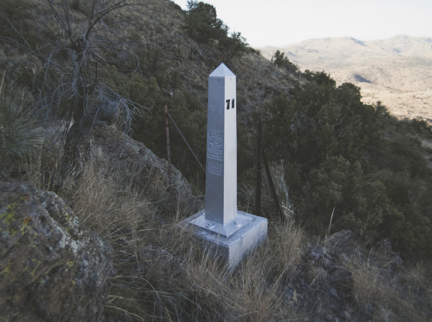 Border Monument No. 71, N 31° 19.944' W 109° 03.001', from the