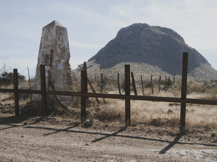Border Monument No. 82, N 31° 20.040' W 109° 25.907', from the