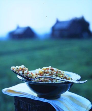 Rustic Corn Salad in Front of Slave Shacks