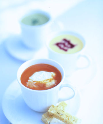 Three Soups--Red Pepper, Spinach, and Peach--Served in Delicate Demitasse Cups